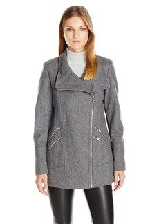 GUESS Women's Melton Wool Asymmetrical Zip Coat  S