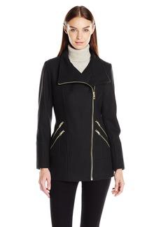 GUESS Women's Melton Wool Asymmetrical Zip Coat  L
