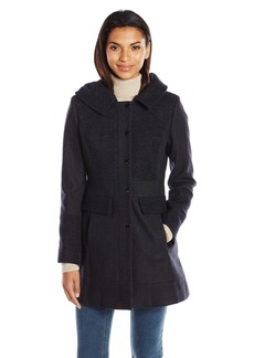 GUESS Women's Melton Wool Coat With Hood  L