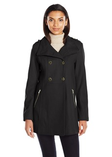 GUESS Women's Melton Wool Military A Line Coat black L