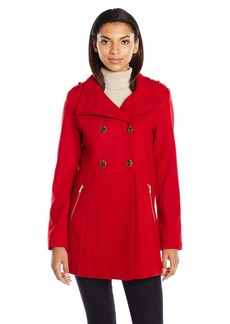 GUESS Women's Melton Wool Military A Line Coat  S