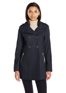 GUESS Women's Melton Wool Military A Line Coat  XL