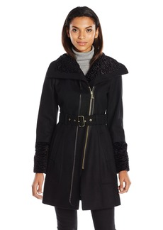 GUESS Women's Melton Wool Zip Coat With Faux Fur Collar and Cuff  L