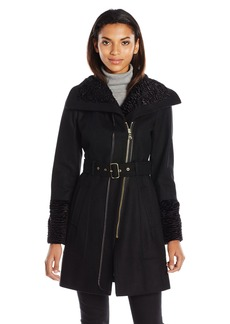 GUESS Women's Melton Wool Zip Coat with Faux Fur Collar and Cuff black S