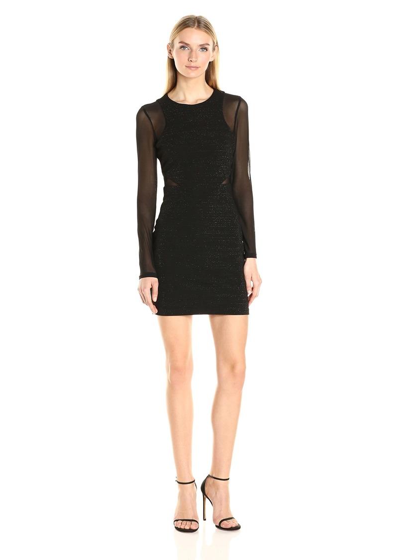 GUESS Women's Mesh Combo Long Sleeve Dress