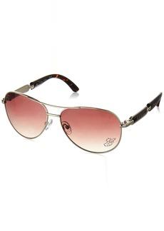 GUESS Women's Metal Aviator Sunglasses GLD-34