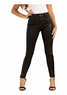 GUESS Women's Metallic Sexy Curve Stretch Mid-Rise Skinny Fit Jean Shine On Black