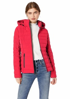 GUESS Women's Mid Length Packable Puffer Coat with Removable Hood red