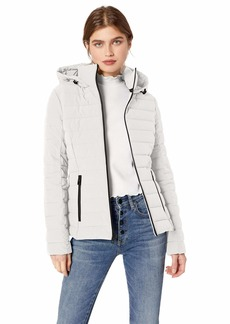 GUESS Women's Mid Length Packable Puffer Coat with Removable Hood  XLarge