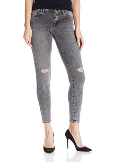 GUESS Women's Mid Rise Skinny Jean Acid Wash with Destroy
