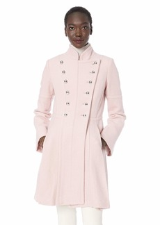 GUESS Women's Military Inspired fit and Flare Fashion Wool Coat