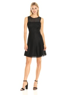GUESS Women's Mittered Stripe Fit and Flare dress black