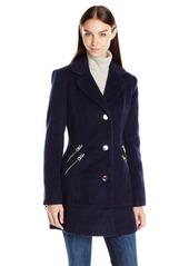 GUESS Women's Mohair Wool Blazer Coat with Zipper Details  M