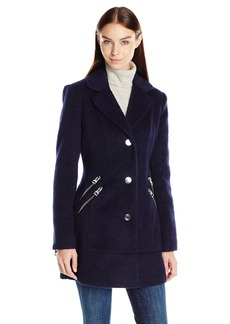 GUESS Women's Mohair Wool Blazer Coat with Zipper Details  M