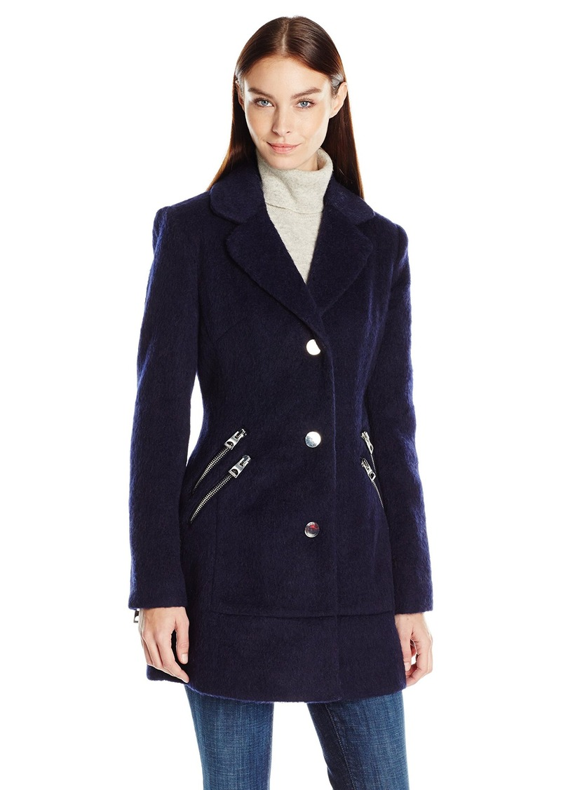 Guess Guess Women S Mohair Wool Blazer Coat With Zipper