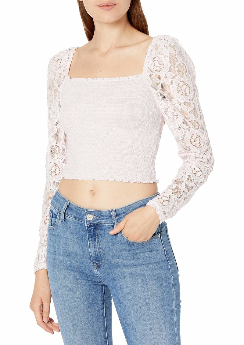 GUESS Women's Nila Long Sleeve Smocked Top  Extra Large