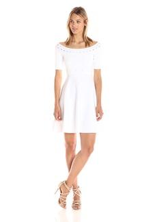 Guess Women's Off Shoulder Half Sleeve Mirage Dress  XS