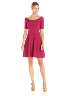 GUESS Women's Off Shoulder Half Sleeve Mirage Dress  XS