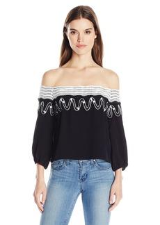 GUESS Women's Off Shoulder Kara Embroidery Top  L