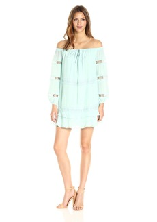 GUESS Women's Off Shoulder Karena Dress fair Aqua