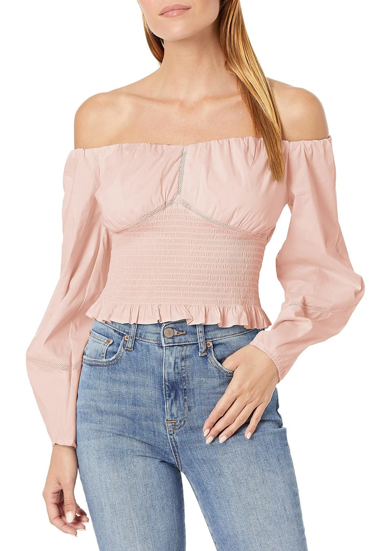 GUESS Women's Off Shoulder Vienna Cotton Poplin Top