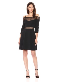 GUESS Women's Off The Shoulder A-line Knit Dress