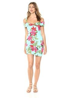 Guess Women's Off The Shoulder Cabanna Dress Dress -coastal bloom aqua print XS