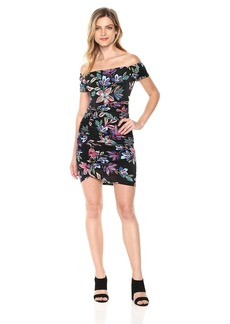 Guess Women's Off The Shoulder Dahlia Dress Dress -TECHNICOLOR lily black print S
