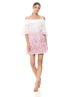 Guess Women's Off The Shoulder Nissi Dress Dress -pink agave multi M