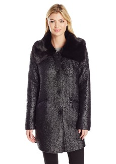 Guess Women's Long Sleeve Lindsey Faux Fur Jacket  L