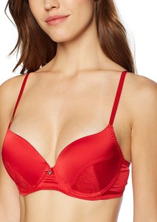 GUESS Women's Patched Lace Push Up Bra Rebelle RED