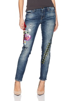 GUESS Women's Pencil Skinny Mid Patched Jean Blue Side wash