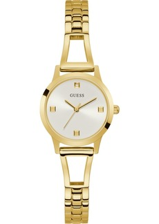 Guess Women's Petite Diamond-Accent Gold-Tone Stainless Steel Bracelet Watch 27mm