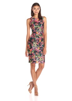 GUESS Women's Printed Stripe Knit Dress with Floral Print