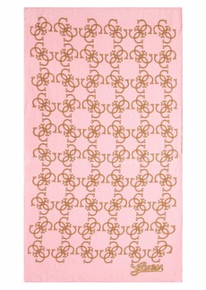 GUESS Women's Printed Swim Towel Pink with Gold Logo ONE Size