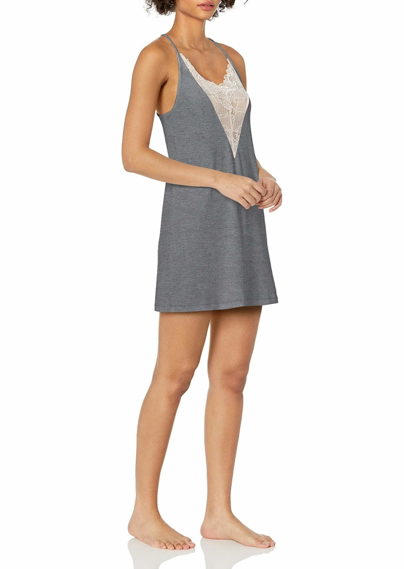 GUESS Women's Racerback LACE and Jersey Night TIME Chemise GREY