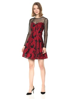 GUESS Women's Red Floral Jacqard Dress Black