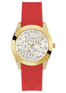 Guess Women's Red Silicone Strap Watch 39mm