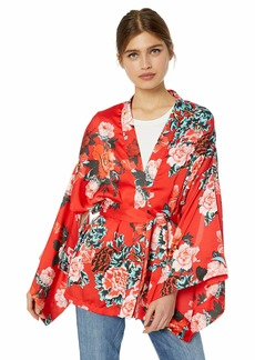 GUESS Women's Satin Floral Kimono Japanese Blue/red Flower M