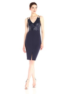GUESS Women's Scub and Sequin Combo Cocktail Dress