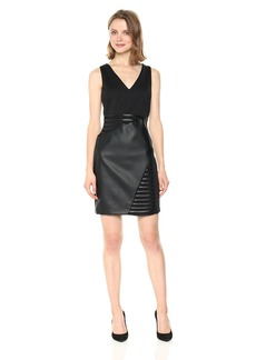 GUESS Women's  Scuba and Faux Leather Dress with A V Neck