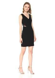 GUESS Women's Scuba Crepe Embroidered Sequin Dress