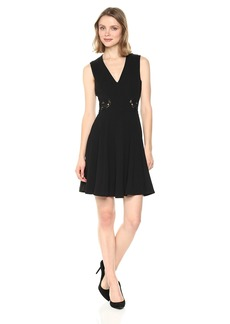 GUESS Women's  Scuba Crepe Fit and Flare Dress