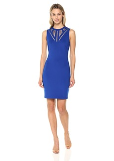 GUESS Women's  Scuba Dress with A Fun Neckline Detail