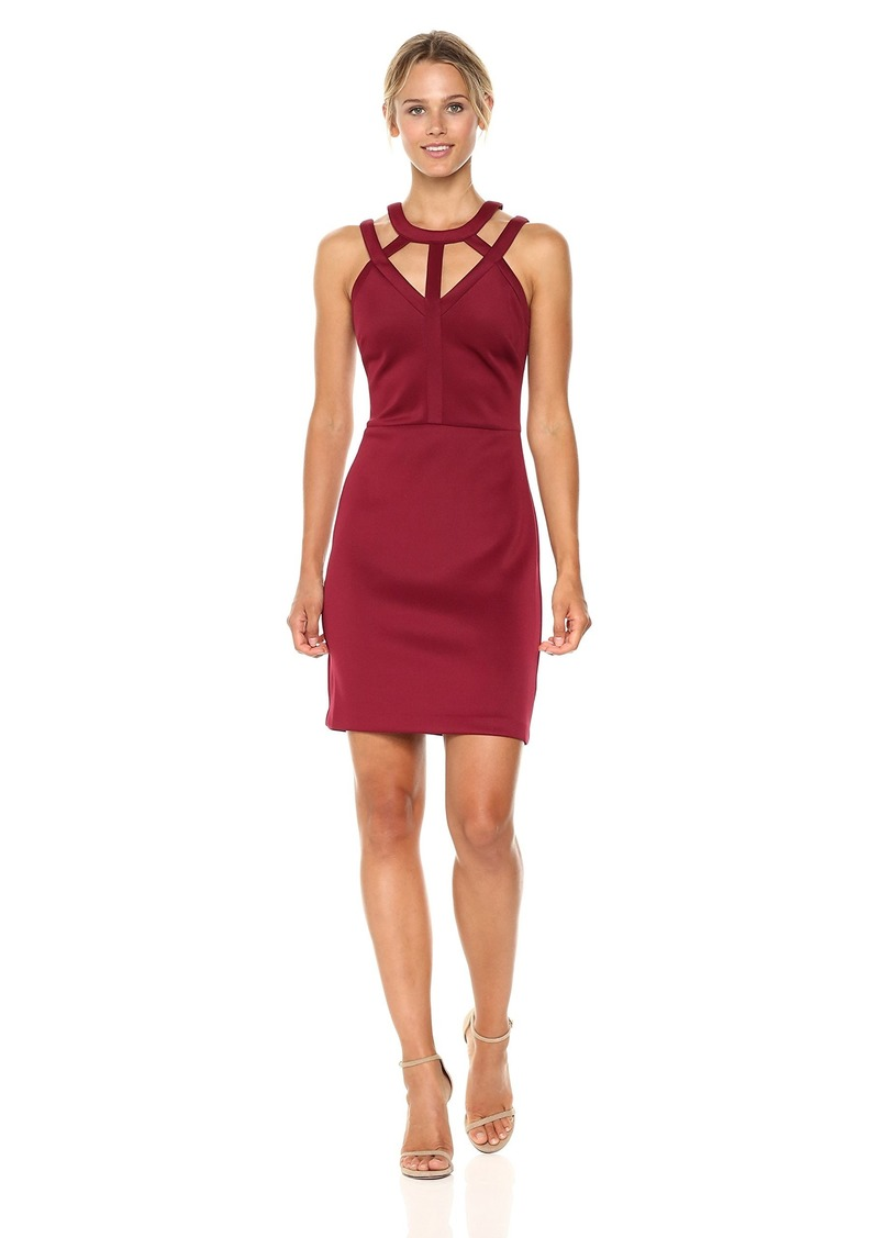 GUESS Women's Scuba Dress with Cutout Neckline