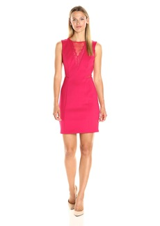 GUESS Women's Scuba Dress with Lace Inset