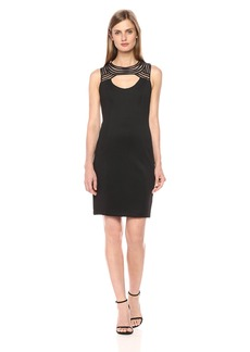 GUESS Women's Scuba Dress with Neckline Detail
