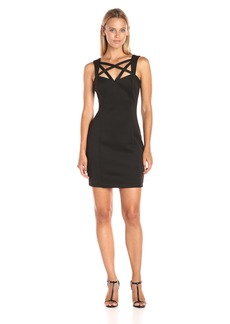 GUESS Women's Scuba Dress with Strap Detail at Neckline