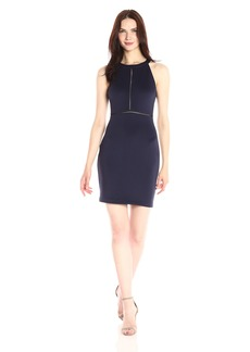 GUESS Women's Scuba Halter Dress with Inlay Detail