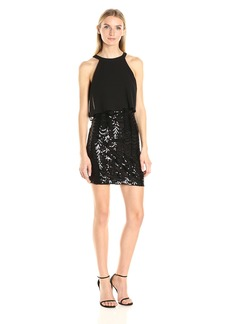 GUESS Women's Sequin Skirt with Chiffon Overlay Top Dress